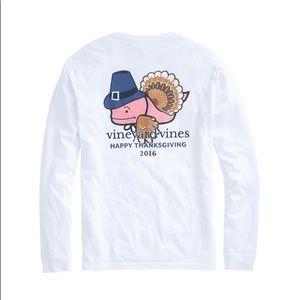 Vineyard Vines White Thanksgiving Turkey Whale Tee
